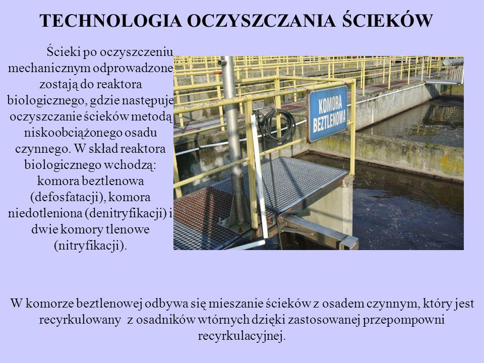 Ścieki po oczyszczeniu mechanicznym odprowadzone zostają do reaktora biologicznego, gdzie następuje oczyszczanie ścieków metodą niskoobciążonego osadu