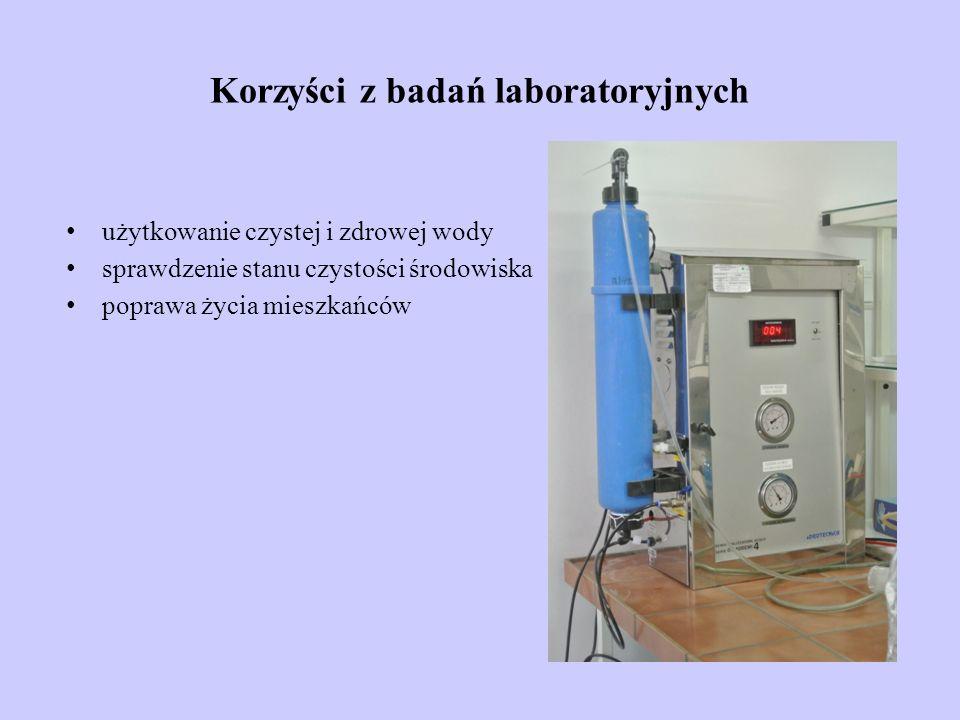 Korzyści z badań laboratoryjnych użytkowanie czystej i zdrowej wody sprawdzenie stanu czystości środowiska poprawa życia mieszkańców