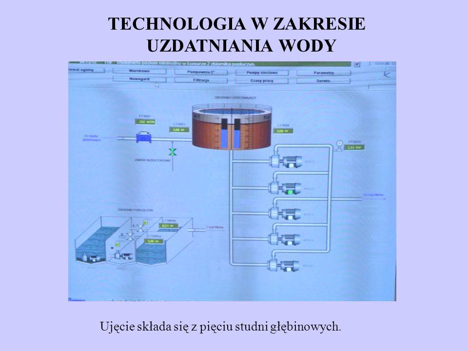 Ujęcie składa się z pięciu studni głębinowych. TECHNOLOGIA W ZAKRESIE UZDATNIANIA WODY