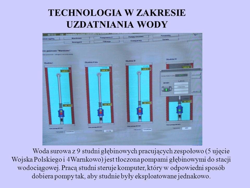 Woda surowa z 9 studni głębinowych pracujących zespołowo (5 ujęcie Wojska Polskiego i 4Warnkowo) jest tłoczona pompami głębinowymi do stacji wodociągo