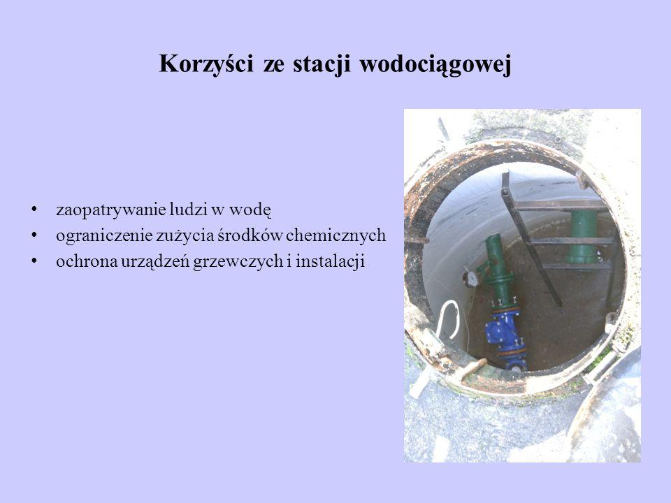 Korzyści ze stacji wodociągowej zaopatrywanie ludzi w wodę ograniczenie zużycia środków chemicznych ochrona urządzeń grzewczych i instalacji