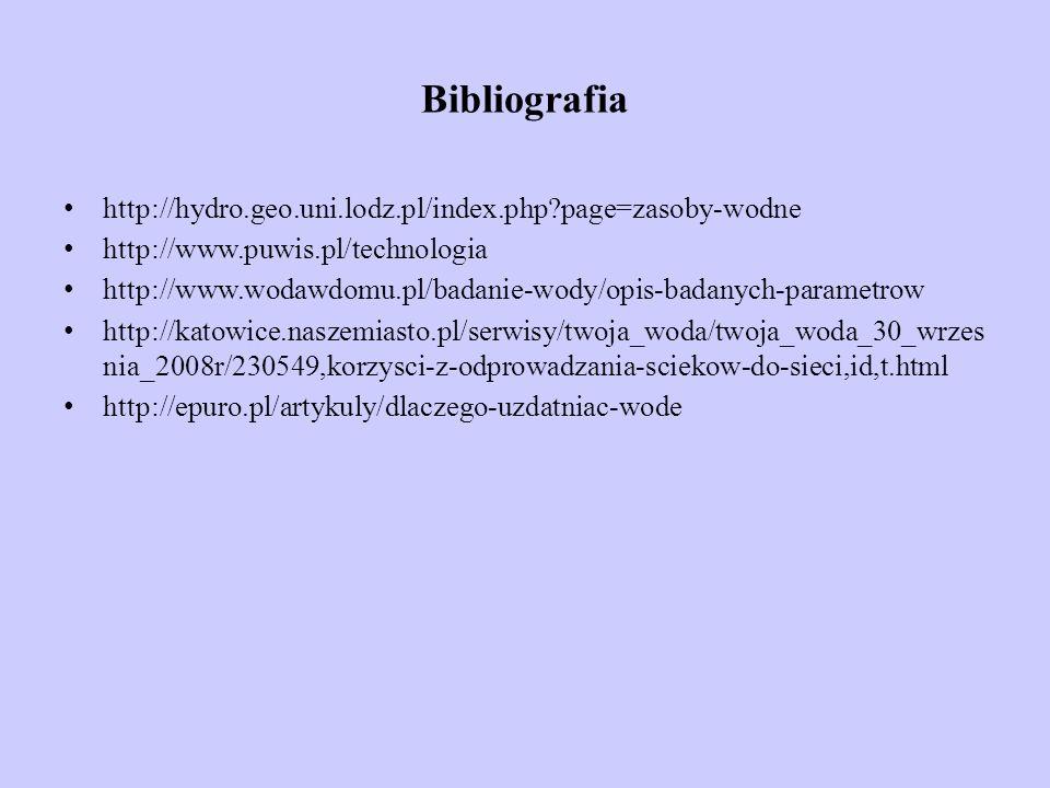 Bibliografia http://hydro.geo.uni.lodz.pl/index.php?page=zasoby-wodne http://www.puwis.pl/technologia http://www.wodawdomu.pl/badanie-wody/opis-badany