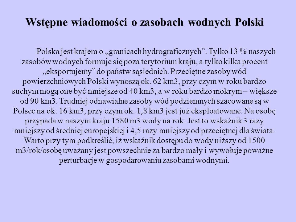 Wstępne wiadomości o zasobach wodnych Polski Polska jest krajem o granicach hydrograficznych. Tylko 13 % naszych zasobów wodnych formuje się poza tery