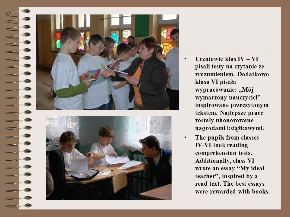 Uczniowie klas IV – VI pisali testy na czytanie ze zrozumieniem.