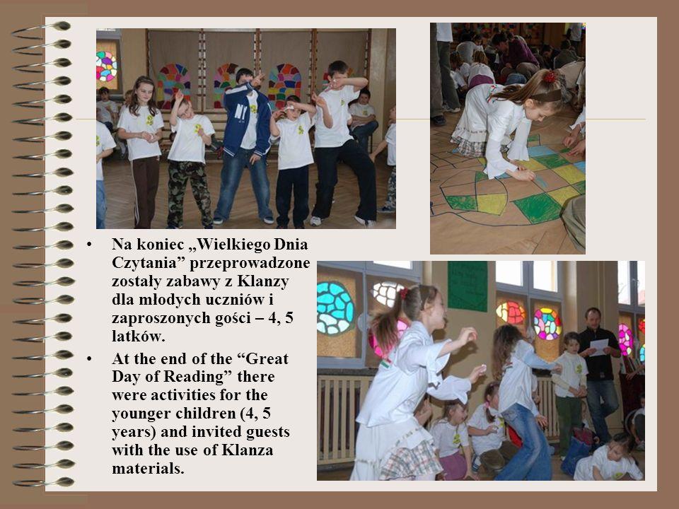Na koniec Wielkiego Dnia Czytania przeprowadzone zostały zabawy z Klanzy dla młodych uczniów i zaproszonych gości – 4, 5 latków.
