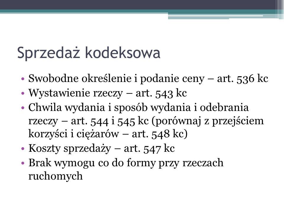 Sprzedaż kodeksowa Swobodne określenie i podanie ceny – art.