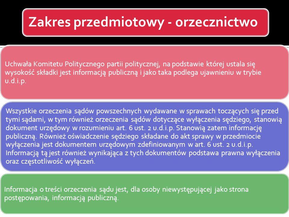 Zakres przedmiotowy - orzecznictwo Uchwała Komitetu Politycznego partii politycznej, na podstawie której ustala się wysokość składki jest informacją p