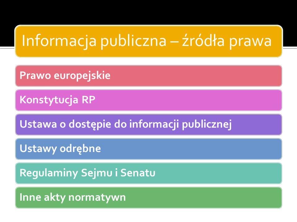 Informacja publiczna – źródła prawa Prawo europejskieKonstytucja RPUstawa o dostępie do informacji publicznejUstawy odrębneRegulaminy Sejmu i SenatuIn