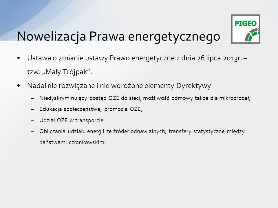 Ustawa o zmianie ustawy Prawo energetyczne z dnia 26 lipca 2013r.