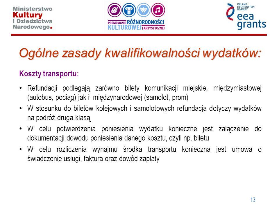 13 Ogólne zasady kwalifikowalności wydatków: Koszty transportu: Refundacji podlegają zarówno bilety komunikacji miejskie, międzymiastowej (autobus, po