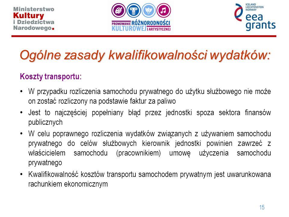 15 Ogólne zasady kwalifikowalności wydatków: Koszty transportu: W przypadku rozliczenia samochodu prywatnego do użytku służbowego nie może on zostać r