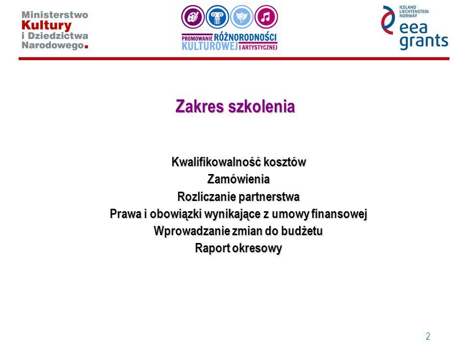 2 Zakres szkolenia Kwalifikowalność kosztów Zamówienia Rozliczanie partnerstwa Prawa i obowiązki wynikające z umowy finansowej Wprowadzanie zmian do b