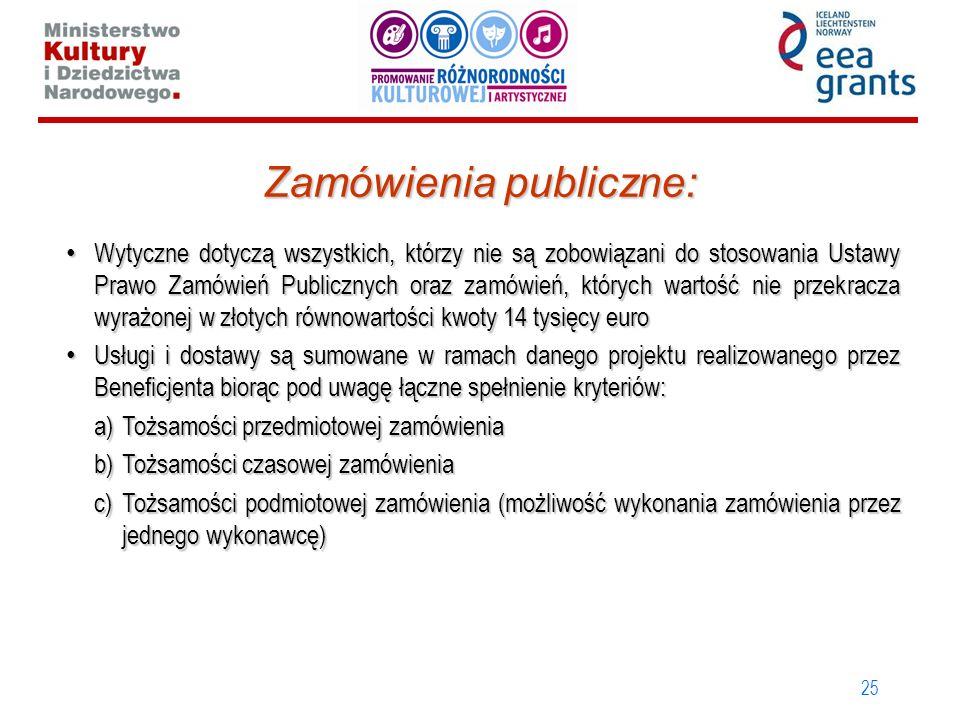 25 Zamówienia publiczne: Wytyczne dotyczą wszystkich, którzy nie są zobowiązani do stosowania Ustawy Prawo Zamówień Publicznych oraz zamówień, których