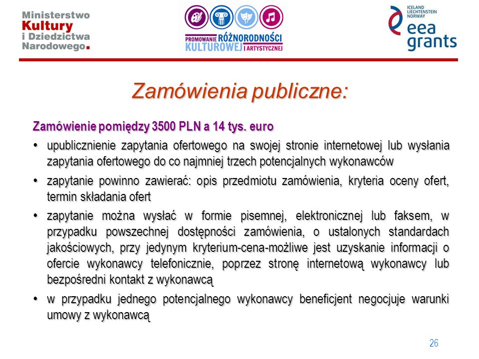 26 Zamówienia publiczne: Zamówienie pomiędzy 3500 PLN a 14 tys. euro upublicznienie zapytania ofertowego na swojej stronie internetowej lub wysłania z