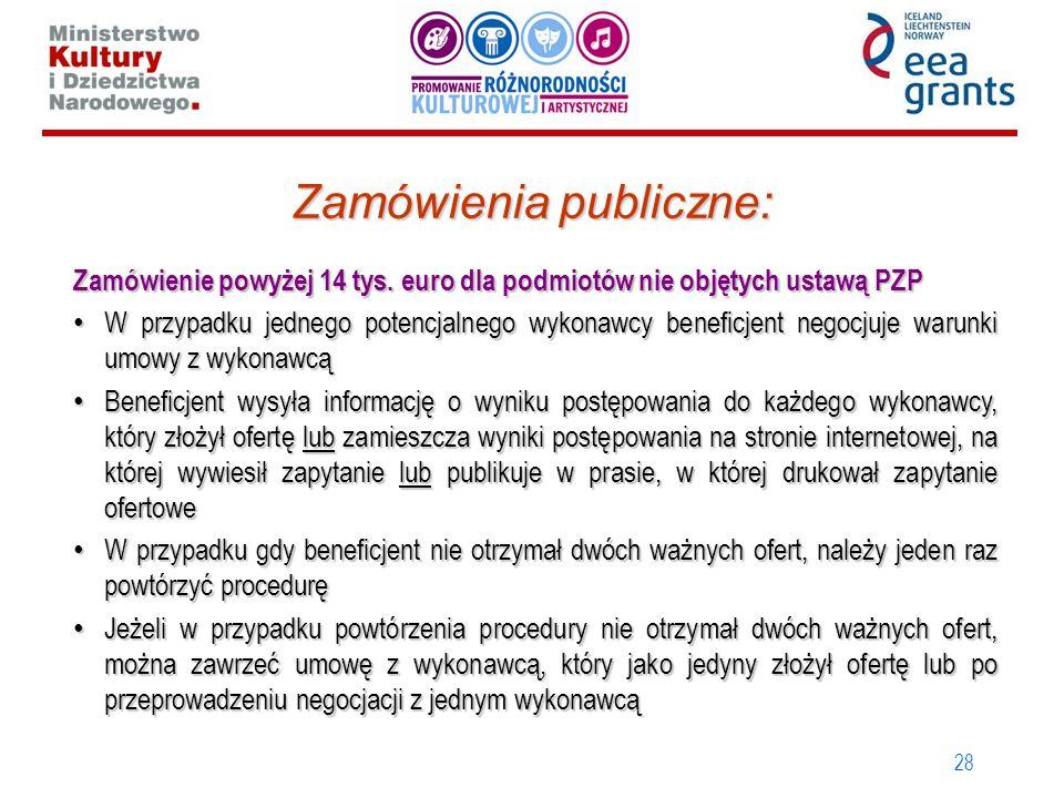 28 Zamówienia publiczne: Zamówienie powyżej 14 tys. euro dla podmiotów nie objętych ustawą PZP W przypadku jednego potencjalnego wykonawcy beneficjent