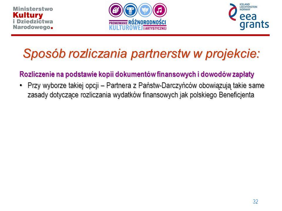 32 Sposób rozliczania partnerstw w projekcie: Rozliczenie na podstawie kopii dokumentów finansowych i dowodów zapłaty Przy wyborze takiej opcji – Partnera z Państw-Darczyńców obowiązują takie same zasady dotyczące rozliczania wydatków finansowych jak polskiego Beneficjenta Przy wyborze takiej opcji – Partnera z Państw-Darczyńców obowiązują takie same zasady dotyczące rozliczania wydatków finansowych jak polskiego Beneficjenta