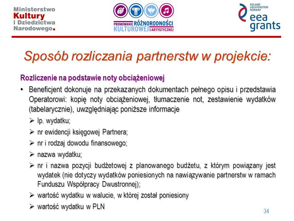 34 Sposób rozliczania partnerstw w projekcie: Rozliczenie na podstawie noty obciążeniowej Beneficjent dokonuje na przekazanych dokumentach pełnego opi