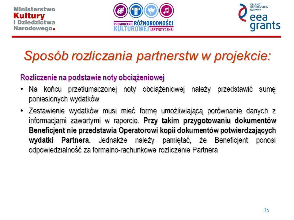 35 Sposób rozliczania partnerstw w projekcie: Rozliczenie na podstawie noty obciążeniowej Na końcu przetłumaczonej noty obciążeniowej należy przedstaw