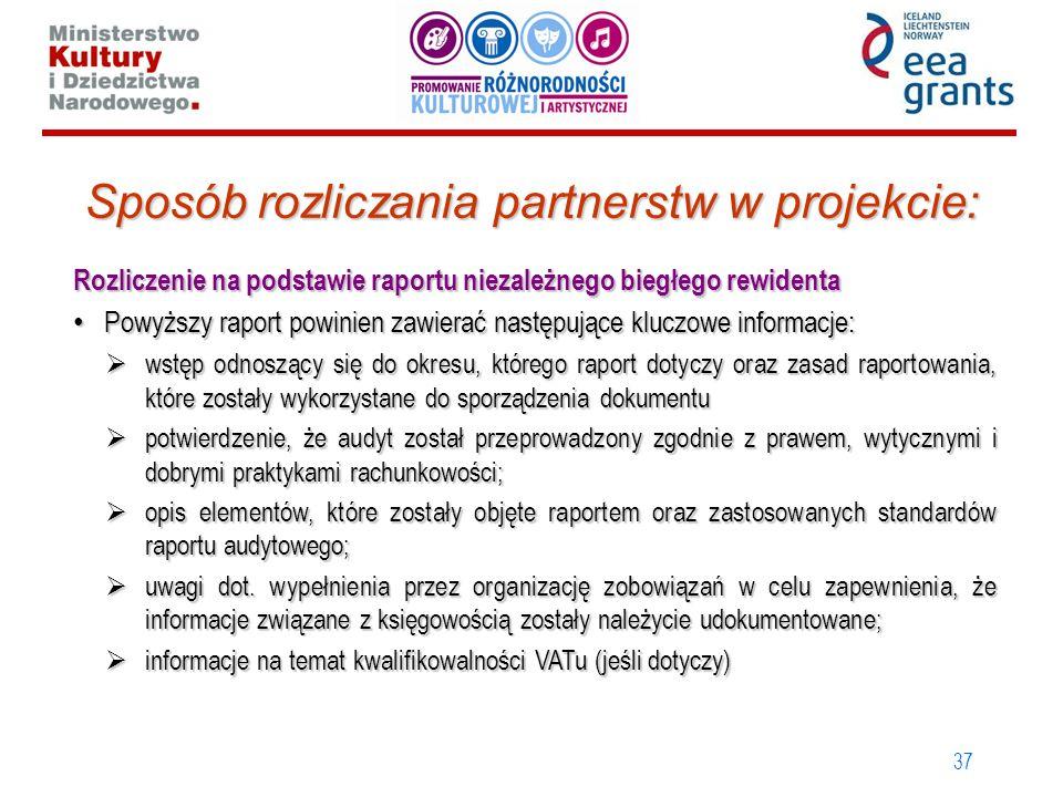 37 Sposób rozliczania partnerstw w projekcie: Rozliczenie na podstawie raportu niezależnego biegłego rewidenta Powyższy raport powinien zawierać nastę