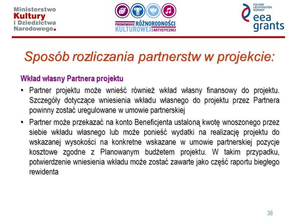 38 Sposób rozliczania partnerstw w projekcie: Wkład własny Partnera projektu Partner projektu może wnieść również wkład własny finansowy do projektu.
