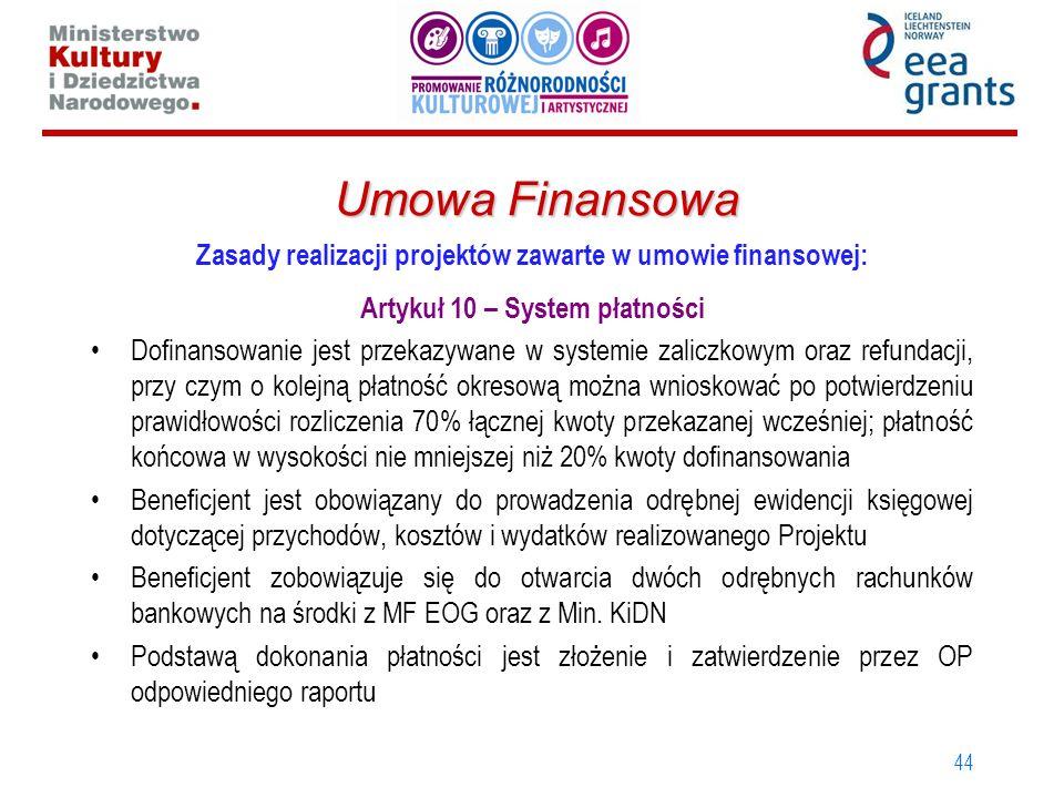 44 Umowa Finansowa Zasady realizacji projektów zawarte w umowie finansowej: Artykuł 10 – System płatności Dofinansowanie jest przekazywane w systemie