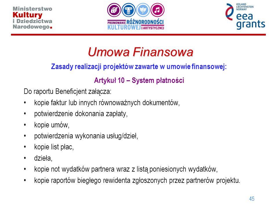 45 Umowa Finansowa Zasady realizacji projektów zawarte w umowie finansowej: Artykuł 10 – System płatności Do raportu Beneficjent załącza: kopie faktur