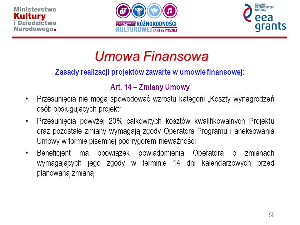 50 Umowa Finansowa Zasady realizacji projektów zawarte w umowie finansowej: Art. 14 – Zmiany Umowy Przesunięcia nie mogą spowodować wzrostu kategorii
