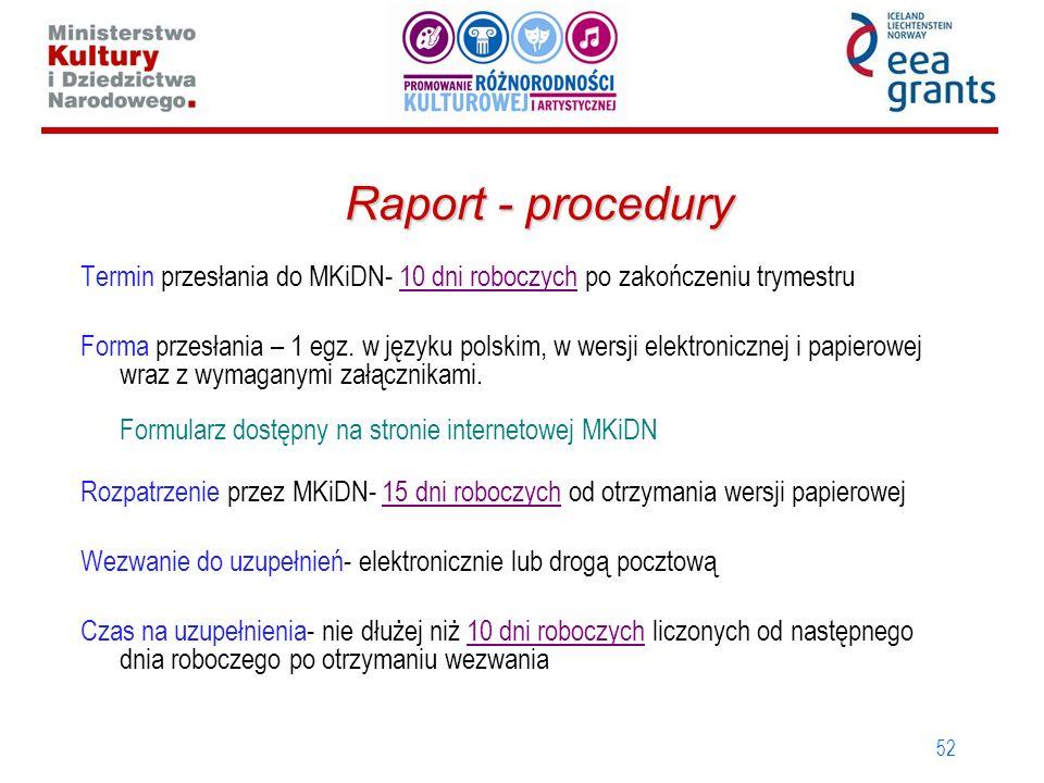 52 Raport - procedury Termin przesłania do MKiDN- 10 dni roboczych po zakończeniu trymestru Forma przesłania – 1 egz. w języku polskim, w wersji elekt