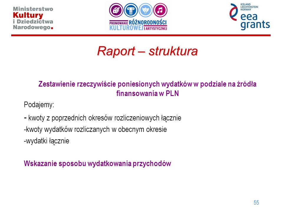 55 Zestawienie rzeczywiście poniesionych wydatków w podziale na źródła finansowania w PLN Podajemy: - kwoty z poprzednich okresów rozliczeniowych łącznie -kwoty wydatków rozliczanych w obecnym okresie -wydatki łącznie Wskazanie sposobu wydatkowania przychodów Raport – struktura