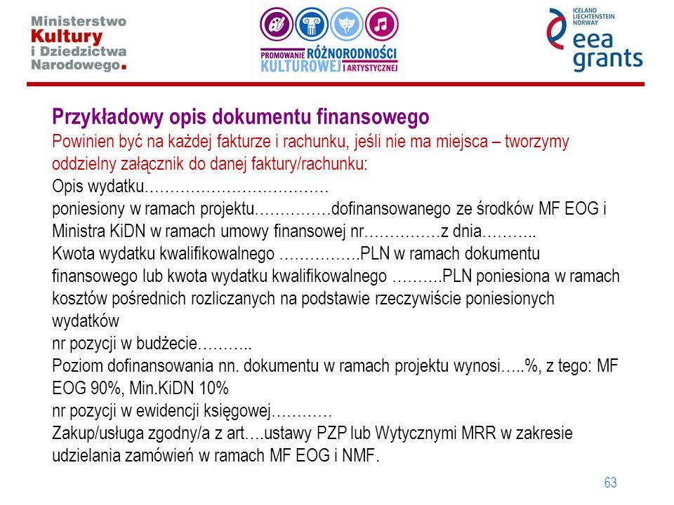 63 Przykładowy opis dokumentu finansowego Powinien być na każdej fakturze i rachunku, jeśli nie ma miejsca – tworzymy oddzielny załącznik do danej fak