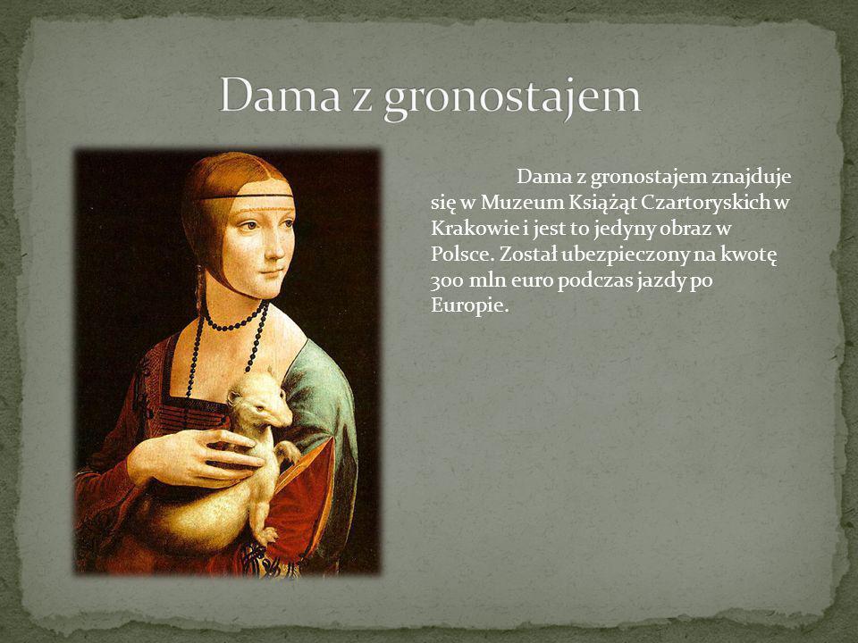 Dama z gronostajem znajduje się w Muzeum Książąt Czartoryskich w Krakowie i jest to jedyny obraz w Polsce. Został ubezpieczony na kwotę 300 mln euro p