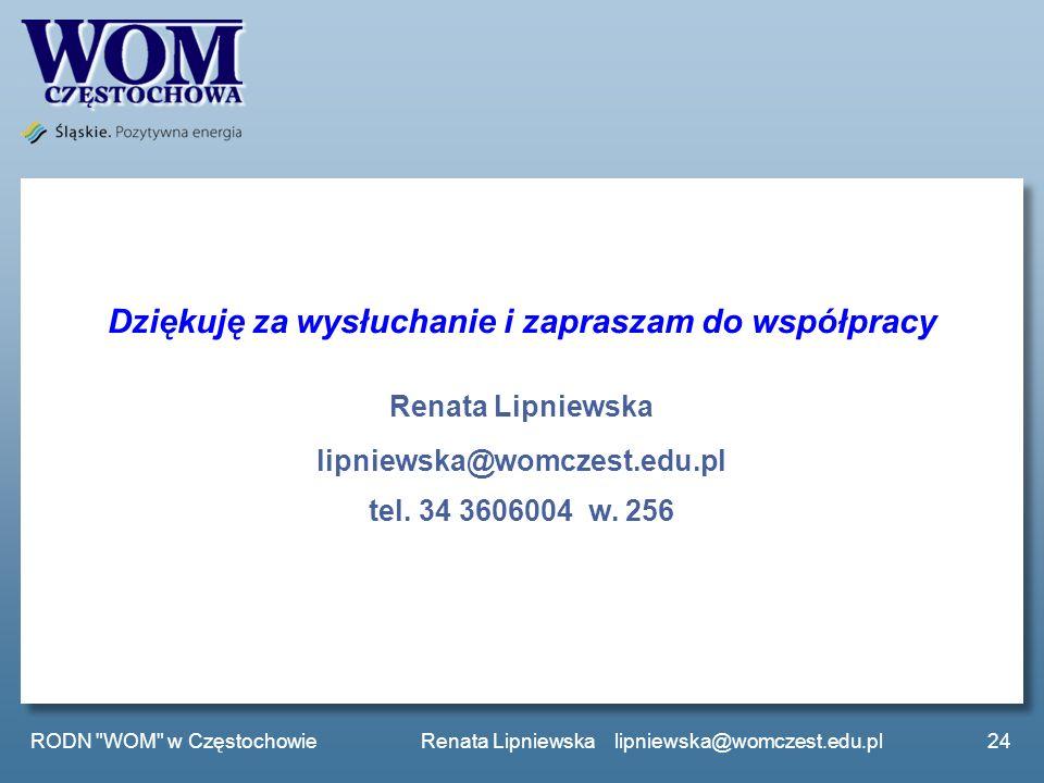 Dziękuję za wysłuchanie i zapraszam do współpracy Renata Lipniewska lipniewska@womczest.edu.pl tel. 34 3606004 w. 256 24 RODN