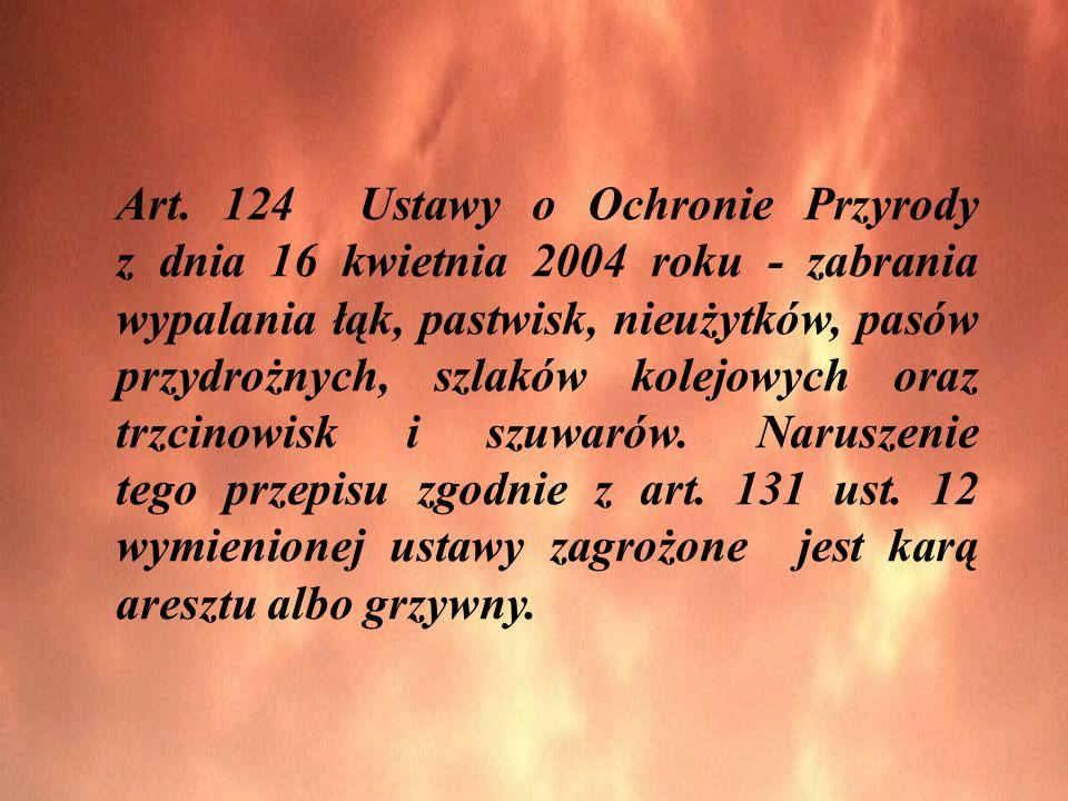 Art. 124 Ustawy o Ochronie Przyrody z dnia 16 kwietnia 2004 roku - zabrania wypalania łąk, pastwisk, nieużytków, pasów przydrożnych, szlaków kolejowyc
