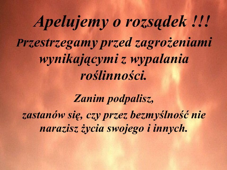 Apelujemy o rozsądek !!! P rzestrzegamy przed zagrożeniami wynikającymi z wypalania roślinności. Zanim podpalisz, zastanów się, czy przez bezmyślność