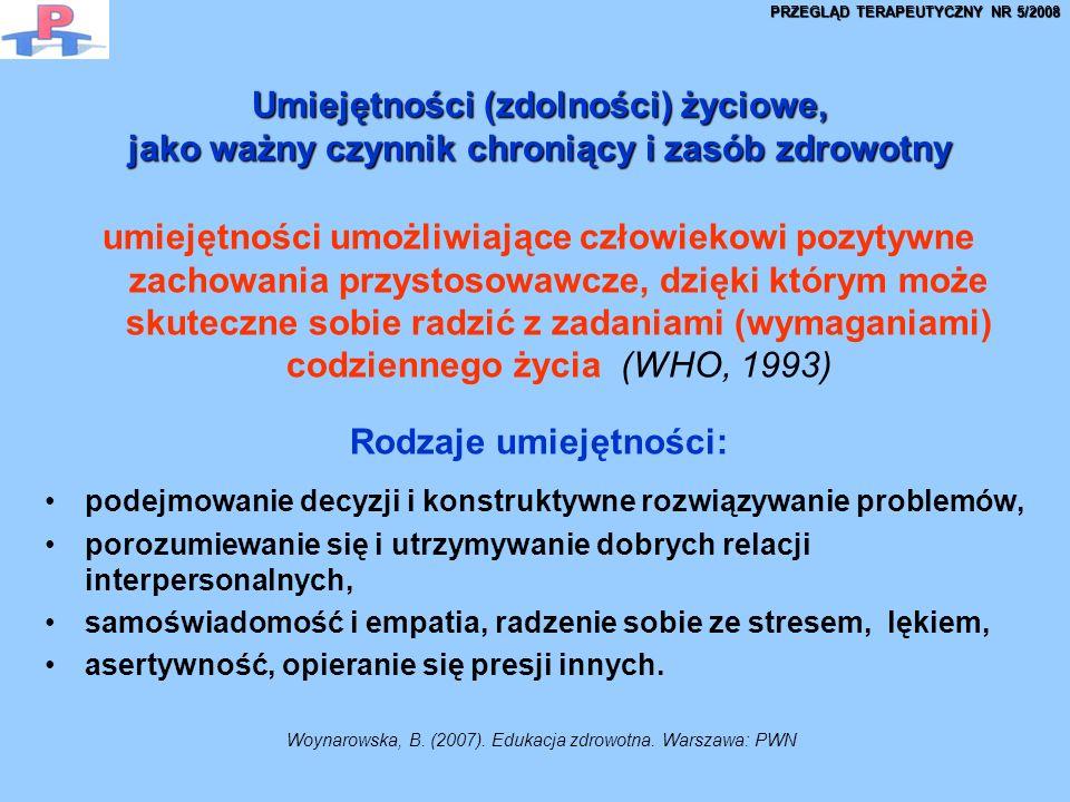 Umiejętności (zdolności) życiowe, jako ważny czynnik chroniący i zasób zdrowotny Umiejętności (zdolności) życiowe, jako ważny czynnik chroniący i zasób zdrowotny umiejętności umożliwiające człowiekowi pozytywne zachowania przystosowawcze, dzięki którym może skuteczne sobie radzić z zadaniami (wymaganiami) codziennego życia (WHO, 1993) Rodzaje umiejętności: podejmowanie decyzji i konstruktywne rozwiązywanie problemów, porozumiewanie się i utrzymywanie dobrych relacji interpersonalnych, samoświadomość i empatia, radzenie sobie ze stresem, lękiem, asertywność, opieranie się presji innych.