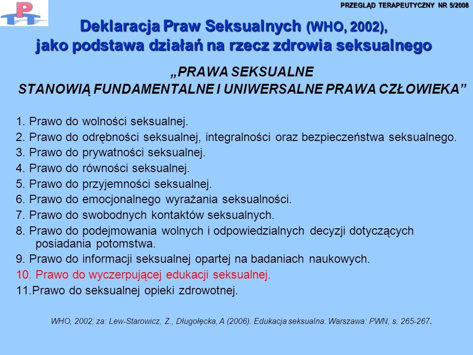 Deklaracja Praw Seksualnych (WHO, 2002), jako podstawa działań na rzecz zdrowia seksualnego PRAWA SEKSUALNE STANOWIĄ FUNDAMENTALNE I UNIWERSALNE PRAWA CZŁOWIEKA 1.