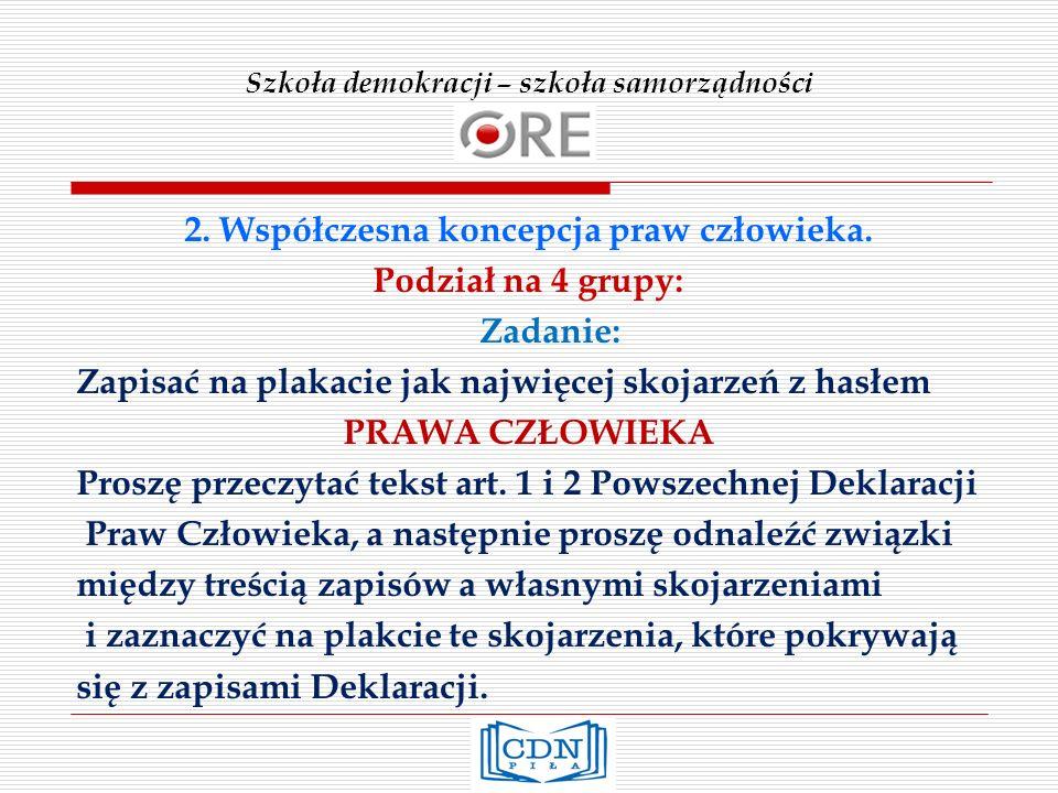 Szkoła demokracji – szkoła samorządności 2. Współczesna koncepcja praw człowieka.