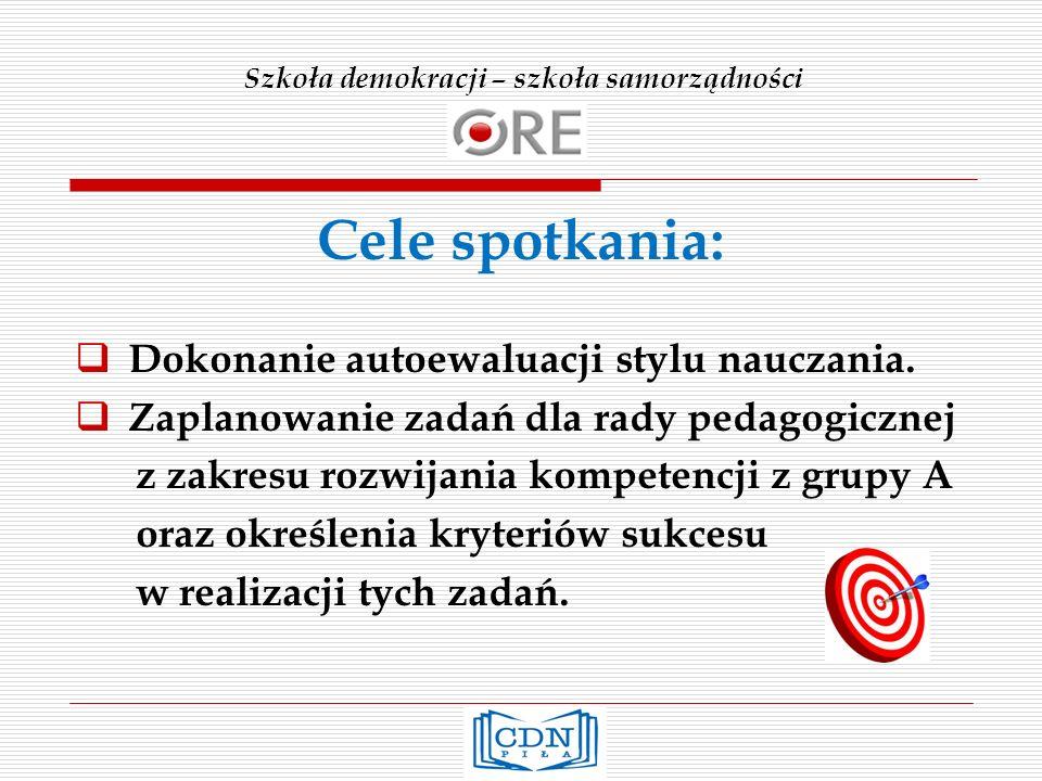 Szkoła demokracji – szkoła samorządności Kompetencja 4.