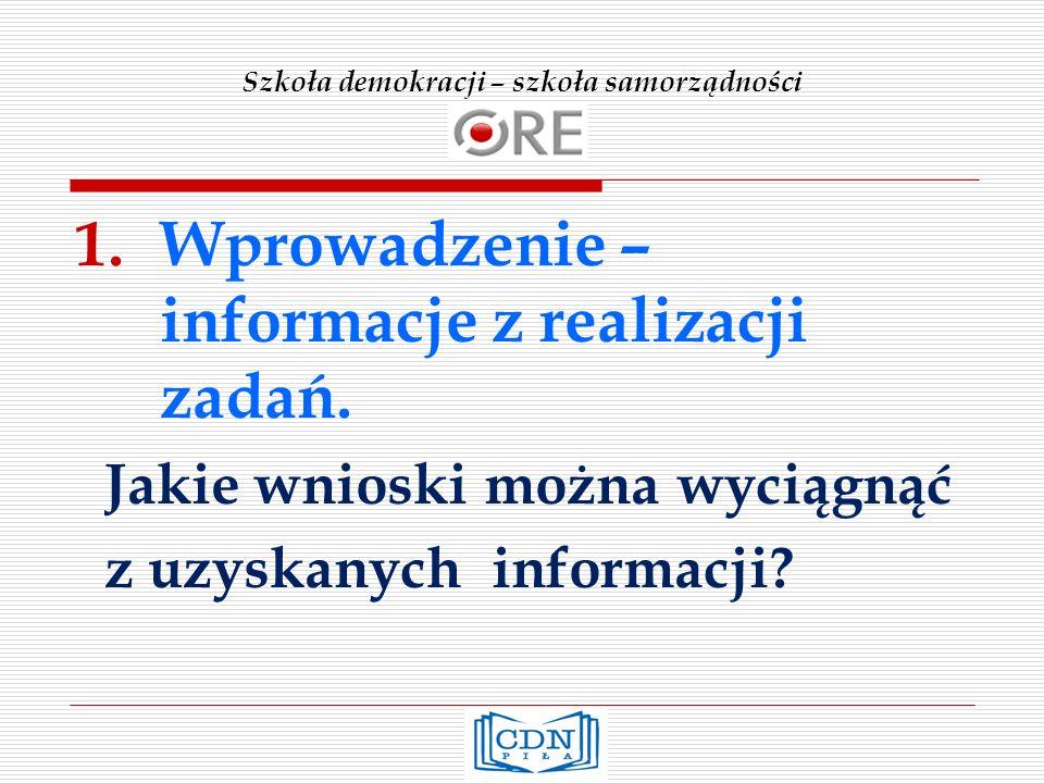 Szkoła demokracji – szkoła samorządności 1.Wprowadzenie – informacje z realizacji zadań.