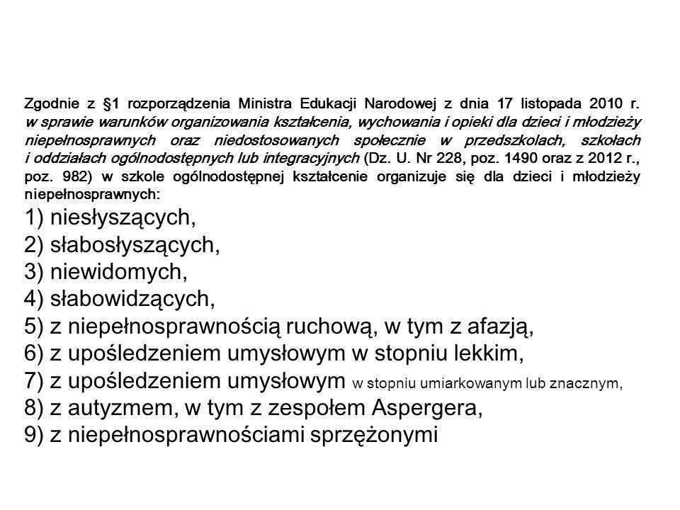 Zgodnie z §1 rozporządzenia Ministra Edukacji Narodowej z dnia 17 listopada 2010 r.
