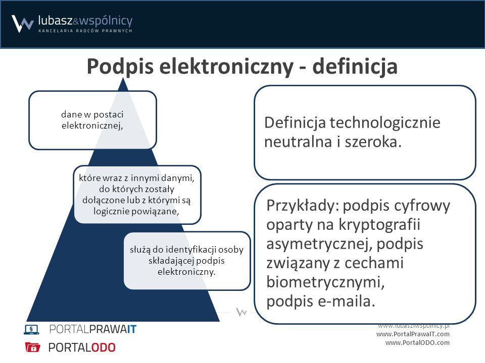 www.lubasziwspolnicy.pl www.PortalPrawaIT.com www.PortalODO.com Podpis elektroniczny - definicja dane w postaci elektronicznej, które wraz z innymi da
