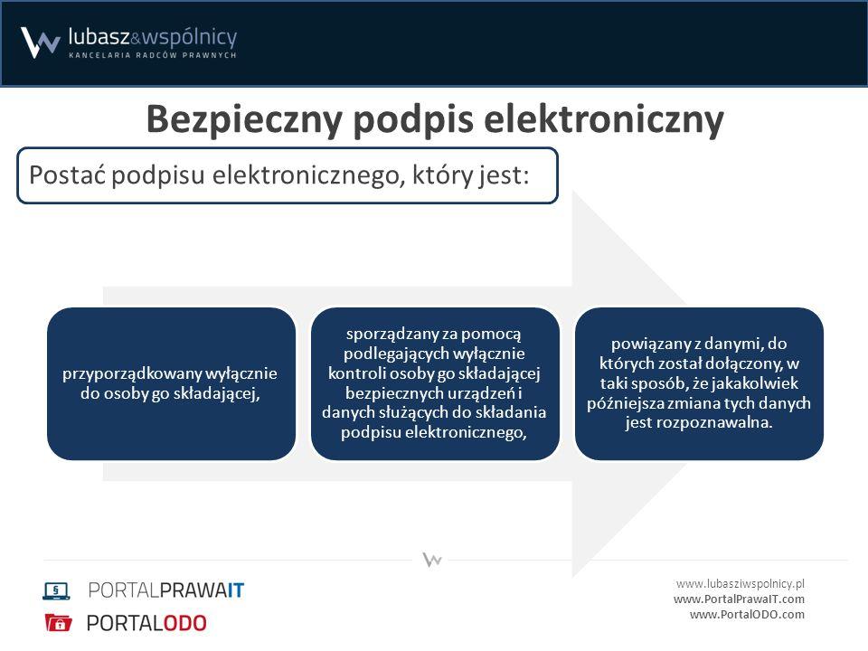 www.lubasziwspolnicy.pl www.PortalPrawaIT.com www.PortalODO.com Bezpieczny podpis elektroniczny przyporządkowany wyłącznie do osoby go składającej, sp