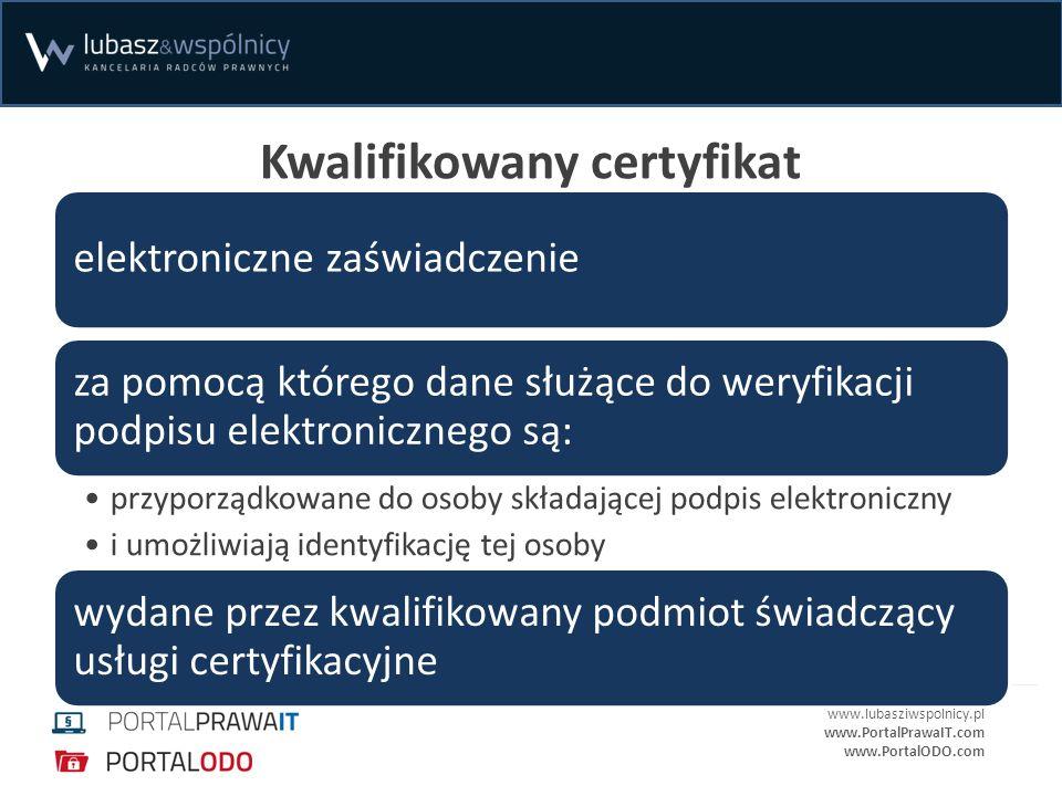 www.lubasziwspolnicy.pl www.PortalPrawaIT.com www.PortalODO.com Kwalifikowany certyfikat elektroniczne zaświadczenie za pomocą którego dane służące do