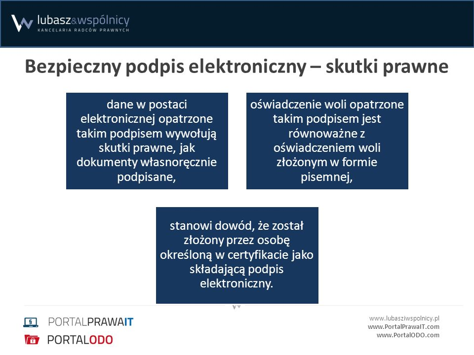 www.lubasziwspolnicy.pl www.PortalPrawaIT.com www.PortalODO.com Bezpieczny podpis elektroniczny – skutki prawne dane w postaci elektronicznej opatrzon