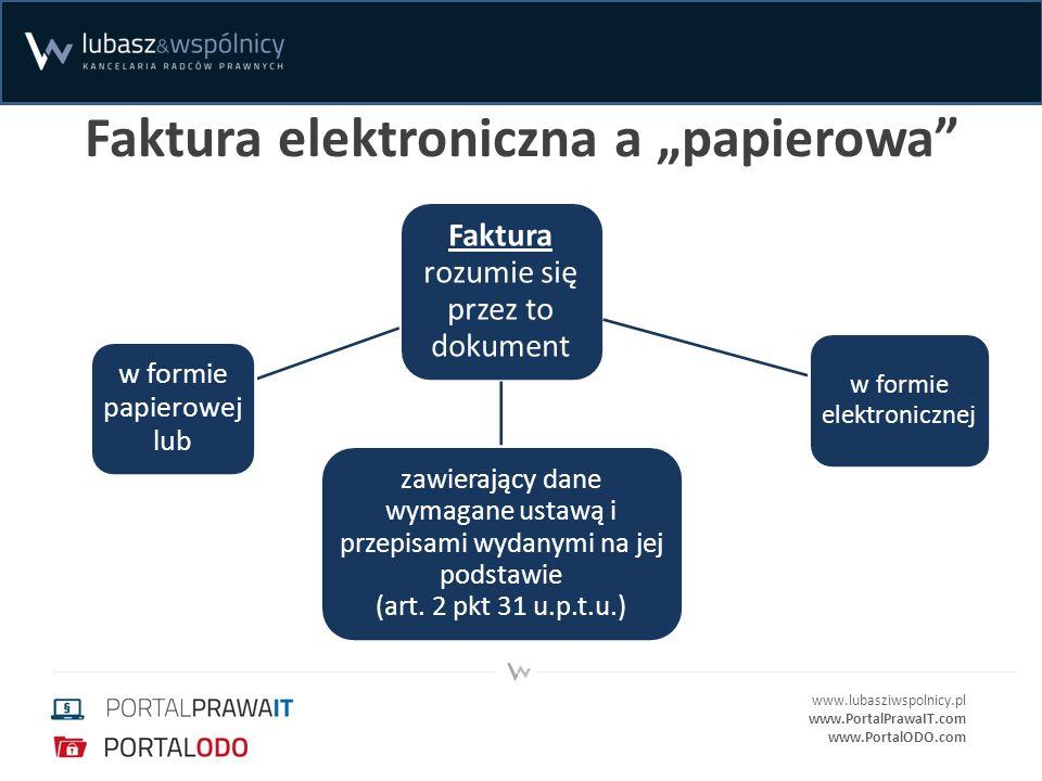 www.lubasziwspolnicy.pl www.PortalPrawaIT.com www.PortalODO.com Bezpieczny podpis elektroniczny – skutki prawne dane w postaci elektronicznej opatrzone takim podpisem wywołują skutki prawne, jak dokumenty własnoręcznie podpisane, oświadczenie woli opatrzone takim podpisem jest równoważne z oświadczeniem woli złożonym w formie pisemnej, stanowi dowód, że został złożony przez osobę określoną w certyfikacie jako składającą podpis elektroniczny.