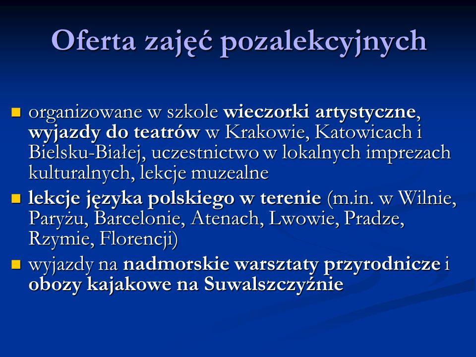 Oferta zajęć pozalekcyjnych organizowane w szkole wieczorki artystyczne, wyjazdy do teatrów w Krakowie, Katowicach i Bielsku-Białej, uczestnictwo w lo