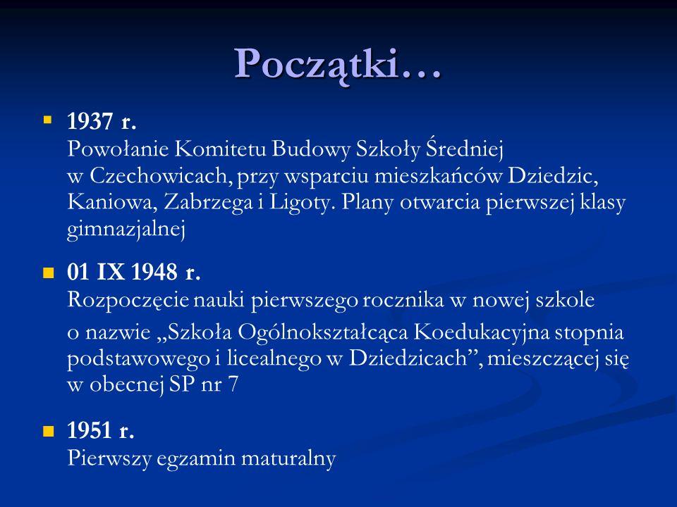 Początki… 1937 r. Powołanie Komitetu Budowy Szkoły Średniej w Czechowicach, przy wsparciu mieszkańców Dziedzic, Kaniowa, Zabrzega i Ligoty. Plany otwa