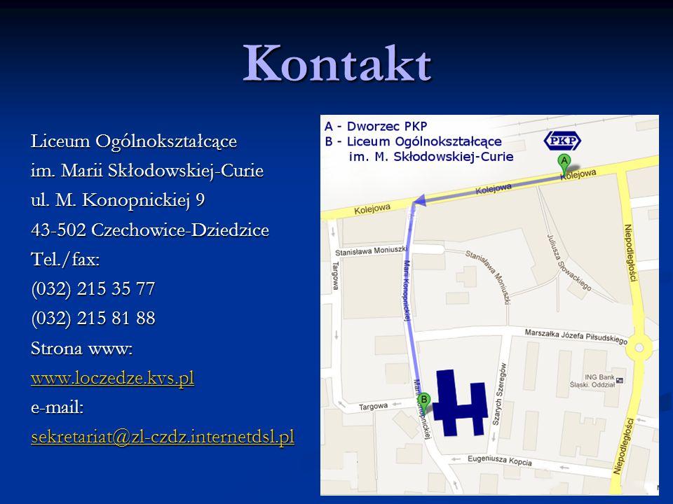 Kontakt Liceum Ogólnokształcące im. Marii Skłodowskiej-Curie ul.