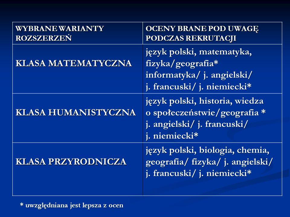 WYBRANE WARIANTY ROZSZERZEŃ OCENY BRANE POD UWAGĘ PODCZAS REKRUTACJI KLASA MATEMATYCZNA język polski, matematyka, fizyka/geografia* informatyka/ j. an