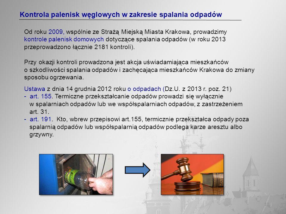 10 Kontrola palenisk węglowych w zakresie spalania odpadów Od roku 2009, wspólnie ze Strażą Miejską Miasta Krakowa, prowadzimy kontrole palenisk domow